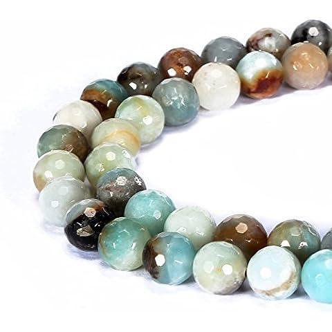 jennysun2010naturale pietra rotonda sfaccettata, perle 4mm, 6mm, 8mm, 10mm, 12mm, 1filo per borsa per braccialetto collana orecchini gioielli artigianato design guarigione, Multi-Colored Amazonite, 4 mm