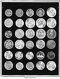Münzenbox mit 30 Vertiefungen á 38 mm (Lindner 2115C), z.B. für 5 Mark Kaiserreich, 1 US$ Morgan, Trade, Liberty, Gorbrecht, Peace, 1 Unze Maple Leaf (Silber), 500 ÖS - Ausführung: Carbo