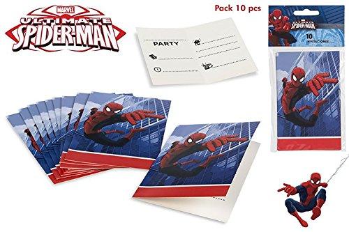 Unbekannt Colorbaby, 71904, Pack 10 Spiderman Einladungen, für Partys und Geburtstage