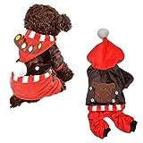Hiver chaud de Noël Renne Antler Dog Costume à capuche épais pour milieu Chiens de petite taille