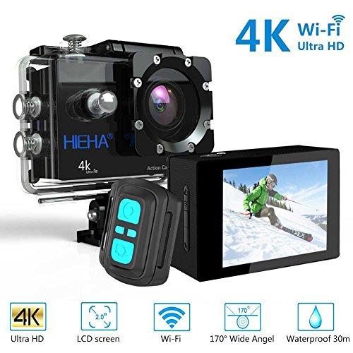 Galleria fotografica Hieha H68 Fotocamera Aquatica DV Sport Azione WIFI Novatek NTK 96660 Sony IMX078 4K Video HDR Immagine 16MP Angolo di visualizzazione grandangolare 170 ° Videocamera Schermo LCD da 2 pollici Impermeabile fino a 30M Memoria massima 128 GB