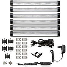 LE 6 Pezzi Luci LED sottopensile armadio, 30cm 4W 300lm 12V DC Luce Bianca calda Kit completo