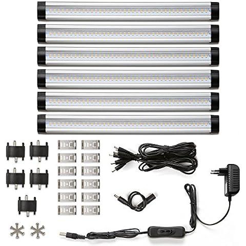 LE Kit 6 Lámparas LED para armario 30cm, total de 24W, 12V CC, 1800lm, blanco cálido 3000K, equivalencia fluorescente 48W, accesorios incluidos