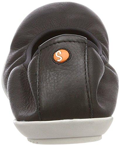 Softinos Damen Oki451sof Smooth Geschlossene Ballerinas Schwarz (Black)