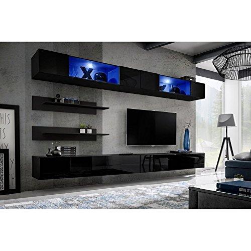Paris Prix - Meuble TV Mural Design Fly VIII 320cm Noir
