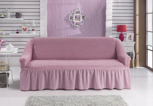 Stretch 2 Sitzer Bezug, 2 Sitzer Husse aus Baumwolle & Polyester. Sehr elastische Sofaueberwurf in rosa / rose. Sofabezug Hussen Sofahusse...