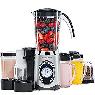 Andrew James Smoothie Maker | 4 in 1 Blender Machine with 1L Jug | Acts as Juicer Grinder and Ice Crusher | Includes 2 Blending Cups & 2 Travel Cups with Lids | 220W