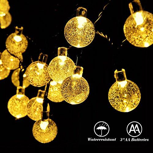 RECESKY a batteria luci stringa 30 LED 6,35 millimetri, sfera di cristallo di illuminazione arredamento per esterno, dell'interno, giardino, giardino, prato, vacanza, casa, camera da letto, decorazioni natalizie (bianco caldo)