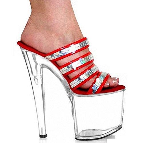 Frauen High Heels Sequins 20 Cm Coole Pantoffel Ultra-Sexy Schuhe T Taiwan Show Große Schuhe , red , 38