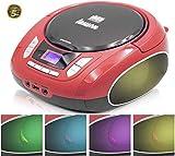 Lauson NXT962 Lettore CD Portatile con Luci LED Multicolori Altoparlanti Integrati | Boombox FM Schermo LCD | Lettore USB per Musica MP3 | Lettore CD per Bambini, con AUX-Out per Cuffie (Rosso)