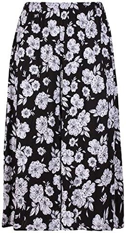 H&F Girls ® New Women's Ladies Summer Floral Flared Flower Print Elasticated Waist Band Long Length Midi Skirt Stretch Plus Size 16 18 20 22 24 28 30 XL XXL XXXL 4XL 5XL 6XL 7XL