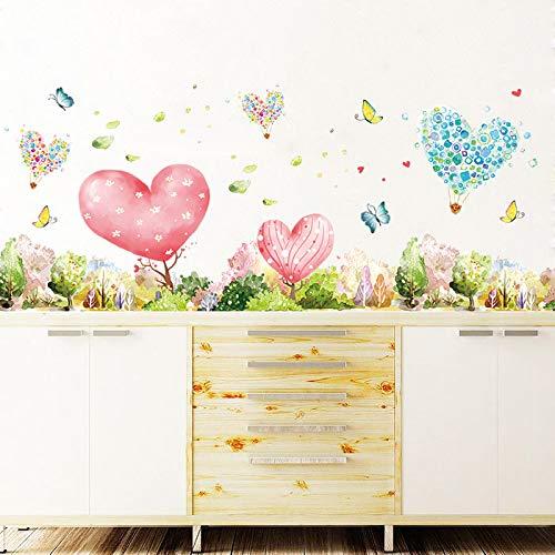 Hongrun Stickers muraux rêve en Forme de Coeur Jungle Salon Chambre Porche plinthe Autocollant Fleur Papillon Autocollants lit décoration 137 * 39cm