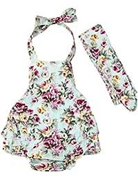 0-24M Koly Bebé recién nacido niña arnés impresión Floral mameluco + venda trajes