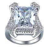 Bigood Bague Femme Cristal Zircone Cubique Bijoux Fantaisie Fiançailles Mariage 925 Argent Périmètre 56.5mm