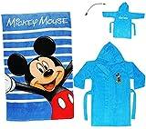 Unbekannt 2 TLG. Set _ Badetuch & Frottee Bademantel -  Disney Mickey Mouse  - 2 bis 4 Jahre / Gr. 92 - 110 - 100 % Baumwolle - mit Kapuze - für Kinder / Mädchen & Ju..