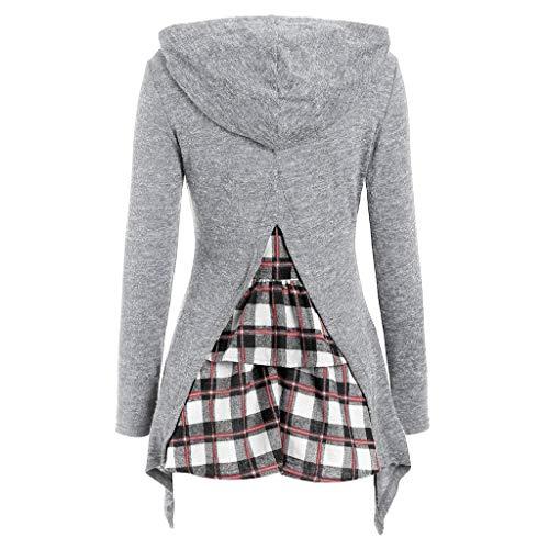 CixNy Damen Kapuzenpullover Unregelmäßiger Saum Langarm Pullover Fliesen Patchwork Hooded Top Jumper Casual Sweatshirt für Männer Frauen Teen (Weiß, L) -