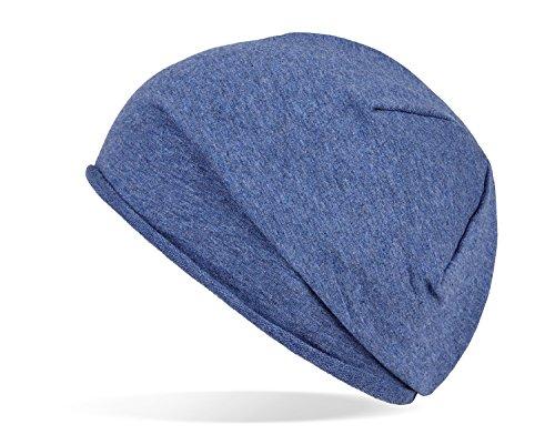 Tarjane Trendige leichte und dünne Jersey Beanie - Unisex - für Damen und Herren Blau OneSize