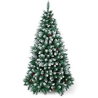 SunJas Árbol de Navidad Artificial Pino, Material PVC, Soporte Metal, Arbol Navideño Decoración con Blanco Nevado, Frutos Rojos, Piñas Verdaderas