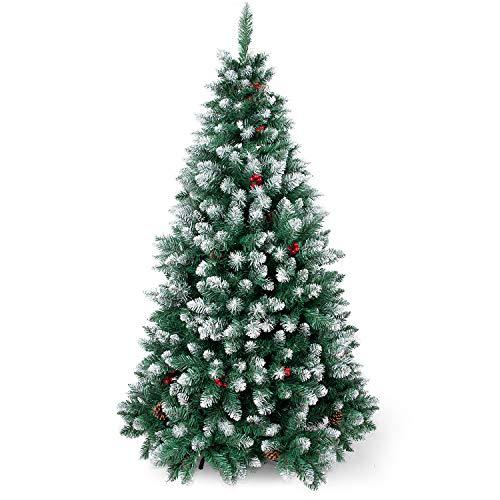 SunJas Árbol de Navidad Artificial Pino, Material PVC, Soporte Metal, Arbol Navideño Decoración con Blanco Nevado, Frutos Rojos, Piñas Verdaderas (120cm, 390puntas)