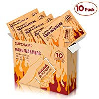 Supchamp Hand Warmers, 10 PCS Disposable Hand Pocket Glove Warmers, Up to 10 Hours of Heat, Safe Natural Odorless Air Activated Hand Heat Pads for Winter Outdoor Activities