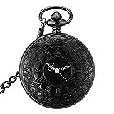 Leaders Retro Antik Steampunk Quarz Uhr Taschenuhr mit Anhänger Kette Geschenk Roman Nummer