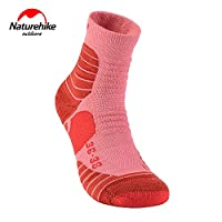 Naturehike Comfortable Breathable Cushioned Coolmax Sport Men Women Quick-drying Athletic Running Socks(Red M)