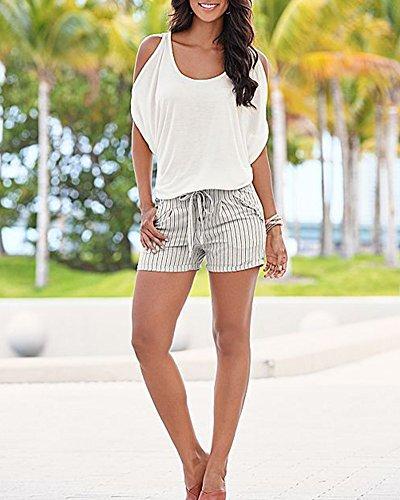 DianShao Donna Spalla-Off Oversized T-Shirt di Maniche Corte Batwing  Camicia Bianca ... bd35dcec2eb