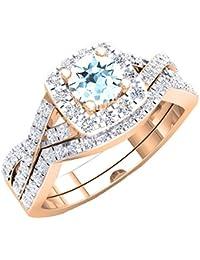 3847b00c70b5 Anillo de compromiso de oro rosa de 18 quilates con piedras preciosas y diamantes  blancos