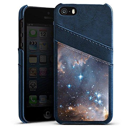 Apple iPhone 5s Housse Étui Protection Coque Étoiles Galaxie Galaxie Étui en cuir bleu marine