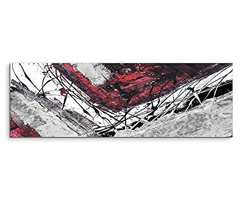 150x50cm Panoramabild abstrakt Leinwanddruck Kunstdruck Wandbild rot schwarz grau weiß Ecken