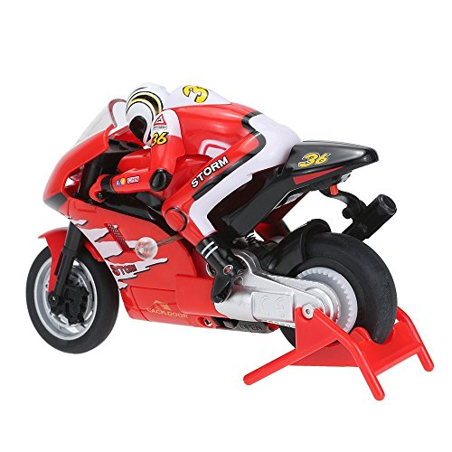 Charming eMart Hign Velocity 3CH RC Motorbike Autobicycle with Gyroscope Distant Management Automotive Automobile Electrical Toy- (Crimson)  Evaluations
