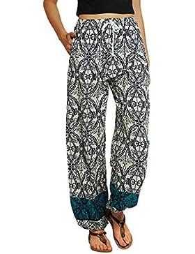 beautyjourney Pantalones casuales de las mujeres, Pantalones con estampado floral de Bohemia Yoga Pantalones Harem...