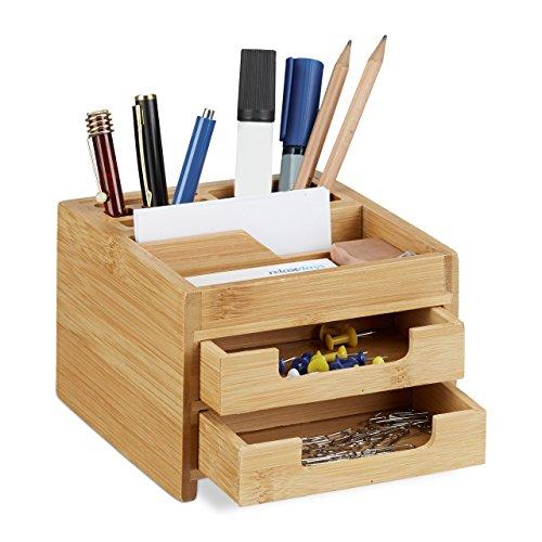 ch Organizer Bambus, Stiftehalter Holz, Schreibtischbox Schubladen, HxBxT: 9,5 x 12,5 x 15 cm, natur (Holz-schubladen-organizer)