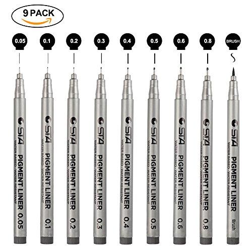 Fineliner Stifte, schwarzen Pigment Liner Micro-Pen Fineliner Tintenschreiber, Pinsel & Kalligraphie...
