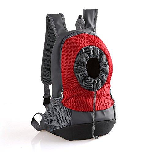 CHONGWFS Haustier Hund Tragetasche Rucksack Kopf aus Träger Doppel Umhängetasche Haustier Rucksack für Wandern, Wandern, Reisen, Fahrrad und Motorrad (Farbe : Rot, größe : M)