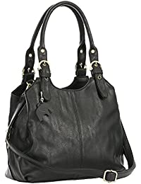 BHSL Womens Multiple Pockets Medium Size Long Strap Shoulder Bag - with a Branded Protective Storage Bag and Charm