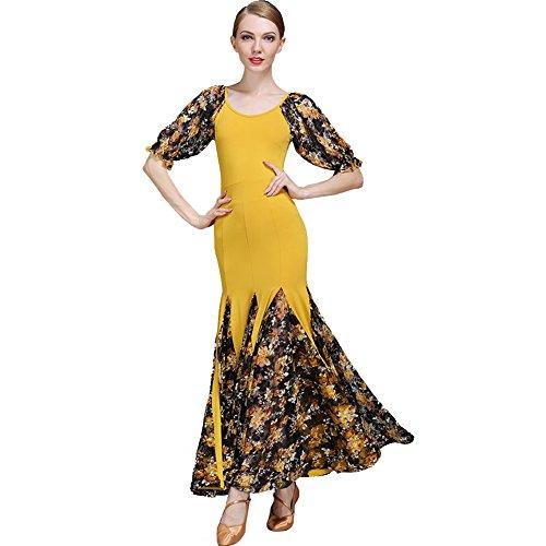Q-JIU Ballroom Dancer Swing Walzer Laterne Puff Lace Print Ice Silk Stitch Flow Kleid, gelb, S (Seide Kleine Laterne)