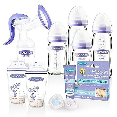Lansinoh Glas Flaschen Mega-Set & Handmilchpumpe 2-Phasen & Membrantechnologie // NaturalWave Sauger // ab Geburt // 2 x 160 ml & 2 x 240 ml // inkl. NaturalWave Sauger Gr. S + M // 2 x Muttermilchbeutel // Lansinoh HPA Lanolin 10ml 1 Pack //