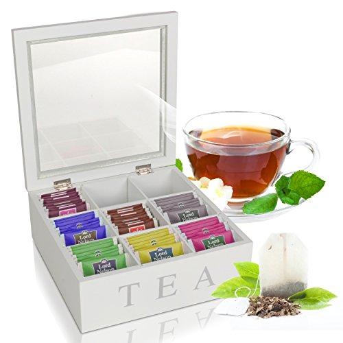Oramics Teebox mit 6 oder 9 Fächern in Weiß oder Schwarz im edlen Holzdesign Teekiste Tee Aufbewahrung (Weiß, 9 Fächer)