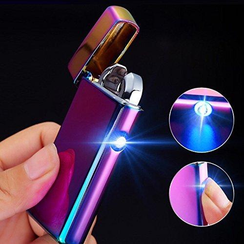 Briquet USB rechargeable Briquet arc Briquet électronique Briquet métal Plasma électrique USB Briquet Electric Lighter Saint-Valentin cadeau pour AMI (Arc en ciel)