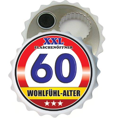 Großer XXL Flaschenöffner Kapselöffner Flaschenöffner Bier Öffner sehr robust mit Hochglanz Etikett für Männer Männergeschenke verschiedene Anlässe (Zum 60. Geburtstag Wohlfühl Alter 32068)