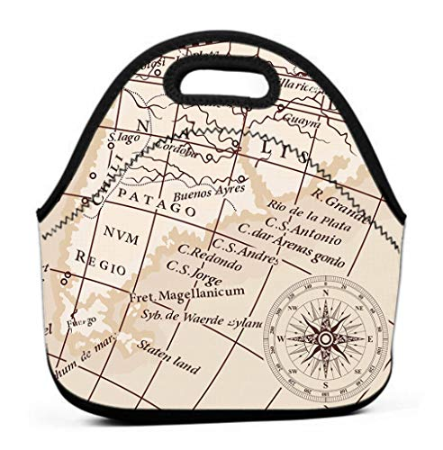 Lunch Bag for Women, Men and Kids - Reusable Lunch Tote for Work and School compass wind rose old vintage map south america continent Drawing