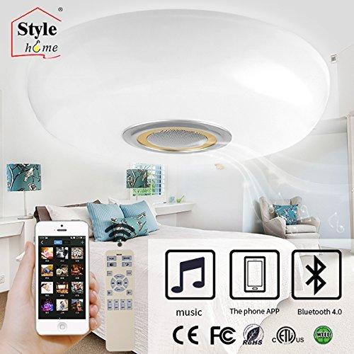 Style home LED RGB Deckenleuchte Deckenlampe mit Bluetooth Lautsprecher voll dimmbar (BT02-60-Gold)