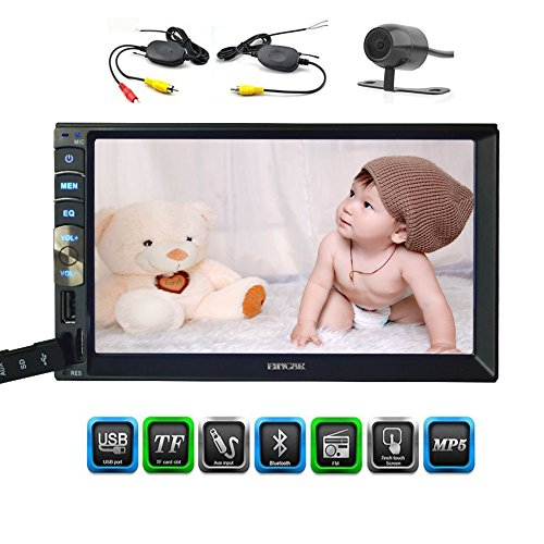 In Dash 7 Zoll kapazitives Multi-Touch-Screen-Double 2 Din Auto Stereo Head Unit Bluetooth AM / FM-No-DVD-Player-Radio-Empfänger Spiegel Link for Android GPS Navigation Telefon mit Wireless-Backup-Kamera Wireless Kamera Mit Empfänger