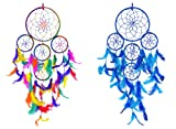 ARTBUGTM 5 Rounds Multicolor & Blue Dream Catcher Wall Hanging Combo (Pack of 2) - for Home/Office/Shop/Rooms
