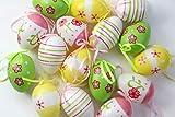 LB H&F 16 Stück Deko Ostereier 6 cm Eier zum Hängen Osterhänger Ostern bunt (gr)