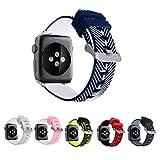 Apple Watch Armband 42mm, Dexnor Apple iWatch Armband Series 1 Series 2 Sportarmband Smart Watch Silikon Strap Replacement Wrist Band Uhrenarmband Ersatzband - Blau Weiß