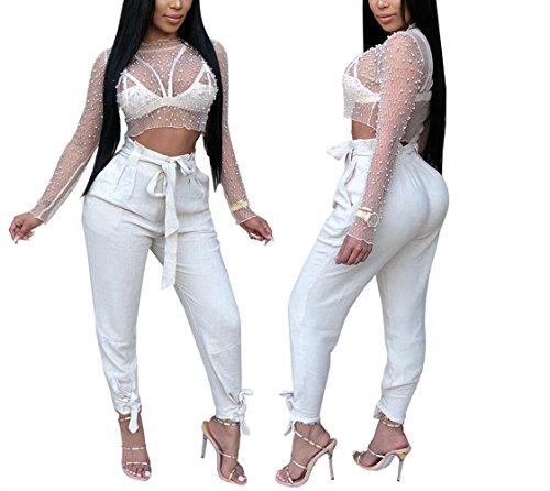 Swallowuk Damen Sexy Net Garn Lange Ärmel Transparent Kurz Bluse T-Shirt Nagel Perlen Tank Tops (S, Weiß) -