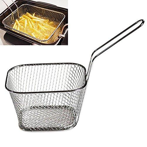 lzndeal Mini Frying Basket Mesh Edelstahl Quadrat Block Pommes Frites Chips Sieb Net Kitchen Tool