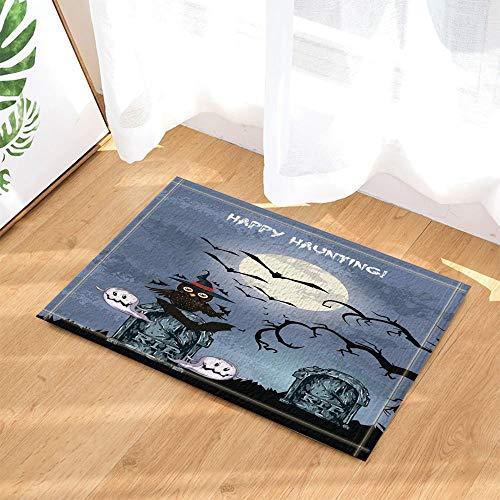 ruck Halloween Dekor Eule und Geist auf Friedhof bei Mondnacht Bad Rugs3D Digitaldruck Schlafzimmer Küche Kinder Badezimmer Matte Zubehör 40X60CM ()